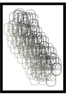 Quadro Com Moldura Grid Branco E Preto (33X24)