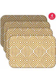 Jogo Americano Love Decor Wevans Abstract Yellow Kit Com 4 Pçs