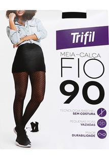 a70f9a8e1 ... Meia Calça Trifil Fio 90 Poá Rendada - Feminino-Preto