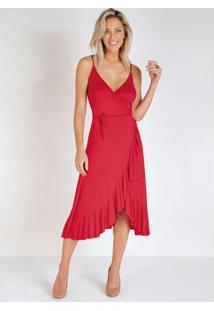 Vestido Vermelho Transpassado Com Babado