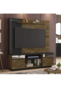 Estante Home Para Tv De 60 Polegadas Com Espelhos Aruba Móveis Bechara Madeira Rústica/Preto Fosco