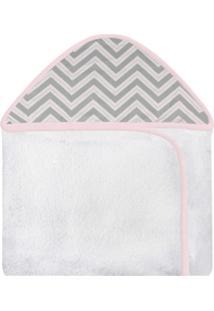 Toalha De Banho C/ Capuz Estampado Laura Baby - Chevron Rosa