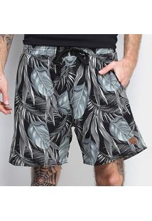 Shorts Gajang Dark Floral Masculino - Masculino-Preto