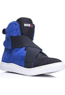 Tênis Masculino Rockfit Coldplay Em Couro Azul Estampa De Cobra