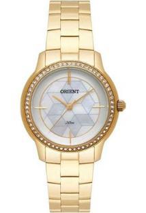 Relógio Orient Dourado Cristais Swarovski Feminino - Feminino-Dourado