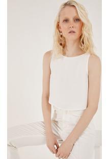Blusa Lisa Com Recorte Sobreposto - Off Whitepop Up