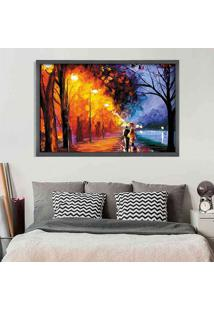 Quadro Love Decor Com Moldura Enamorados Grafitti Metalizado Grande