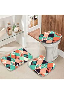 Jogo Tapetes Para Banheiro Flamingos Geométricos