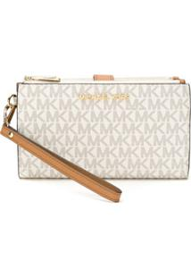 Michael Michael Kors Carteira Double Zip Com Logo - Neutro