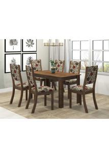 Conjunto Sala De Jantar Mesa Violeta 6 Cadeiras Kiara Viero Grigio/Passion