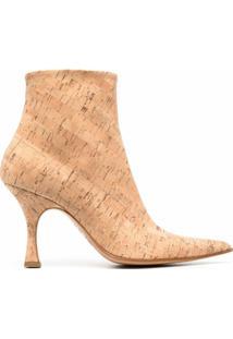 Mm6 Maison Margiela Ankle Boot Com Efeito De Cortiça - Marrom