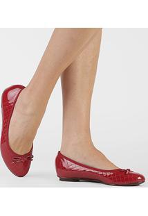 Sapatilha Moleca Matelassê Laço Feminina - Feminino-Vermelho Escuro