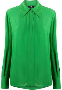 Elisabetta Franchi Blusa Com Abotoamento Oculto - Verde