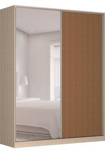 Guarda-Roupa Solteiro Com Espelho Tunas V 2 Pt 3 Gv Noce E Marrom