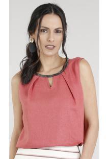 Regata Feminina Em Linho Com Corrente Decote Redondo Rosa Escuro