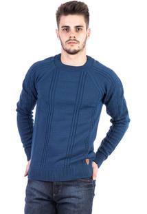 Blusa Tricot Malhas Carlan Trançado Masculina - Masculino-Azul