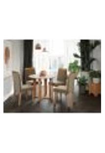 Conjunto De Mesa De Jantar Flora I Com Tampo Off White E 4 Cadeiras Estofadas Laura Suede Joli E Madeira