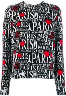 Balenciaga Suéter Bonjour Paris Decote Careca - Preto