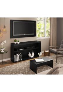 Rack C/Painel Tv Até 50 Pol.Mesa De Apoio Atualle Multimóveis Preto Acetinado Texturizado Ref. 2839