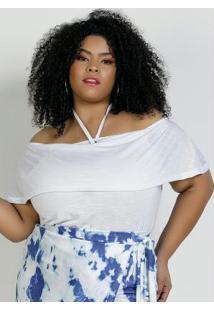 Blusa Branca Ombro A Ombro Plus Size