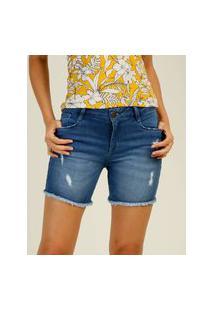Bermuda Feminina Jeans Puídos Barra Desfiada Marisa