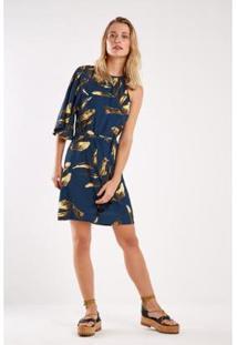 Vestido Est Folhagem Noite Curto Sacada - Feminino-Azul Escuro