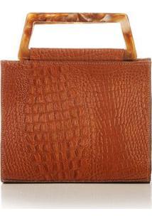 Bolsa De Mão Blue Bags Estruturada Croco Feminina - Feminino-Caramelo