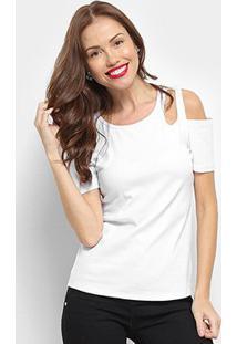 Blusa Top Moda Open Shoulder Feminina - Feminino-Branco
