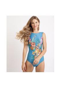 Maiô Body Estampado Floral E Tucanos Com Bojo Azul