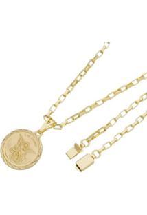 Pingente São Miguel Arcanjo Com Corrente Cartier Gaveta Tudo Joias Folheado A Ouro 18K - Masculino-Dourado