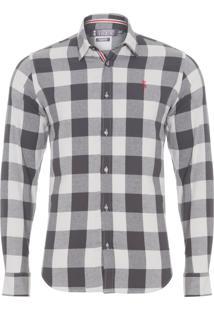 Camisa Masculina Xadrez Quad - Cinza