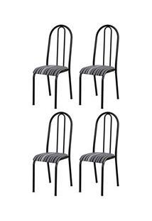 Kit 4 Cadeiras 056 América Cromo Preto/Listrado - Artefamol