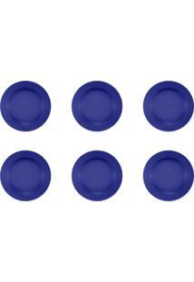 Jogo 6 Pratos Sobremesa Donna Azul 18Cm Am18-5012 Biona