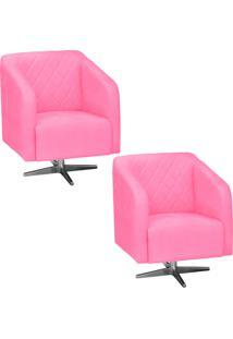 Kit 02 Poltronas Decorativa Silmara Suede Rosa Barbie Com Base Giratória Em Aço Cromado - D'Rossi