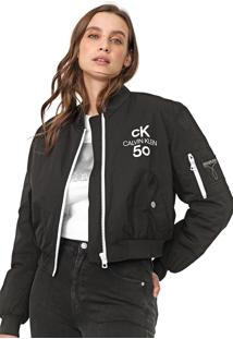 Jaqueta Bomber Cropped Calvin Klein Jeans Logo Preta
