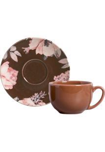 Xícara De Chá Com Pires Bonjour Floral E Marrom