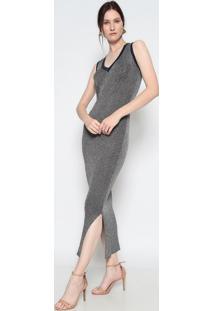 Vestido Longo Texturizado Com Fios Metalizados- Prateadole Fix