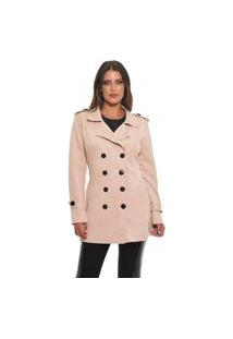 Trench Coat Feminino Suede Jfsi80577 Rose
