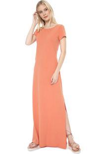 Vestido Dress To Longo Fenda Costas Coral