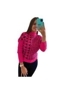 Blusa De Frio Tricot Inverno Quentinha Tricô Grosso Colete Pink