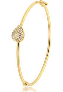 Pulseira Toque De Joia Bracelete Gota Cravejada Dourado