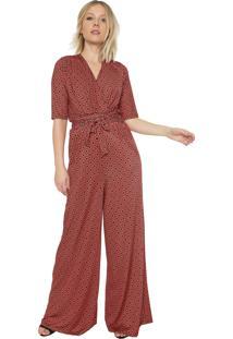 Macacão Ana Hickmann Pantalona Estampado Vermelho/Laranja