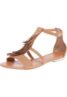 Rasteira Dafiti Shoes Gladiadora Franjas Bege