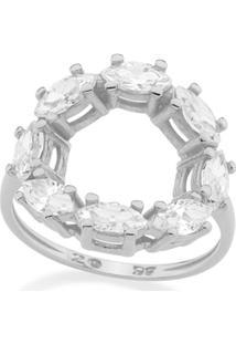 Anel Rommanel Skinny Ring Com Detalhe Redondo Vazado Com Zircônias Navetes Feminino - Feminino-Prata