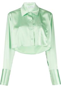 T By Alexander Wang Blusa Cropped Shine Wash And Go De Cetim - Verde