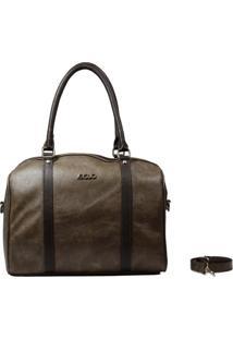 Bolsa Em Couro Recuo Fashion Bag Baú Stonado Rato/Café