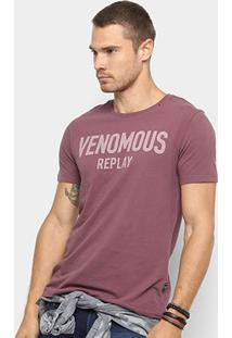Camiseta Replay Venomous Masculina - Masculino-Bordô