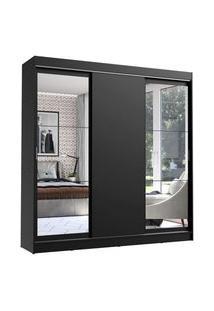 Guarda-Roupa Casal Madesa Istambul 3 Portas De Correr Com Espelhos 3 Gavetas Preto Preto