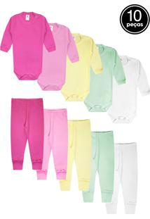 Kit 10Pçs Body Culote Zupt Baby Enxoval Rosa - Tricae