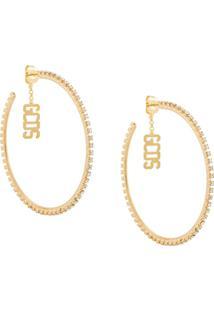 Gcds Logo Charm Hoop Earrings - Dourado